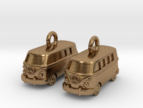 VW Van Earrings in Natural Brass