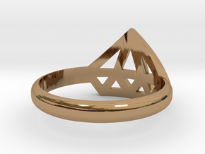 Diamant ring in Polished Brass