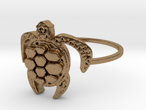 Sea Turtle Ring in Natural Brass: 4 / 46.5