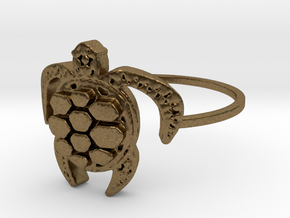 Sea Turtle Ring in Natural Bronze: 4 / 46.5