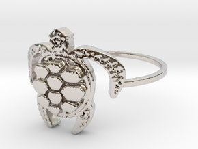 Sea Turtle Ring in Rhodium Plated Brass: 4 / 46.5
