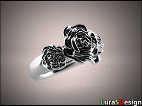 Wild Rose Ring in Polished Bronzed Silver Steel
