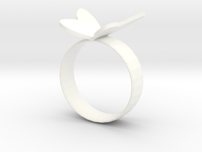 Butterfly RIng in White Processed Versatile Plastic