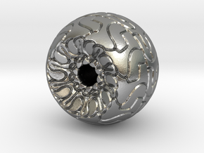 Ornamented Eyeball in Natural Silver