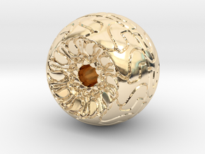 Ornamented Eyeball in 14k Gold Plated Brass