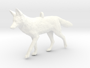Coyote Ornament in White Processed Versatile Plastic