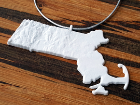 Massachusetts Christmas Ornament in White Natural Versatile Plastic