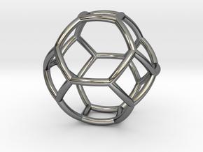 0410 Spherical Truncated Octahedron #002 in Fine Detail Polished Silver
