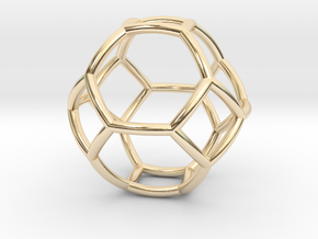 0410 Spherical Truncated Octahedron #002 in 14k Gold Plated Brass
