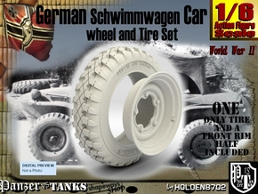 1-6 Schwimmwagen Tire&Rim Set 2 in White Natural Versatile Plastic