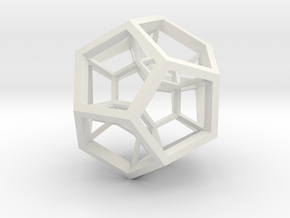 4D Dodecahedron in White Natural Versatile Plastic