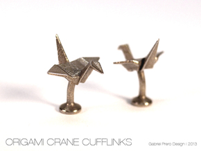 Origami Crane Cufflinks in Polished Bronzed Silver Steel