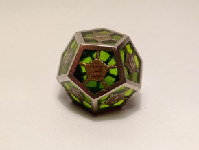 D12 Epoxy Dice in Polished Bronzed Silver Steel