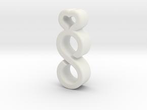 Infinite Heart Pendant/Charm in White Natural Versatile Plastic