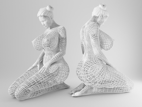 Sexy Wireframe Kneeling 20cm in White Natural Versatile Plastic: Medium