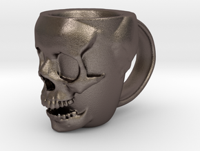 Skull Head Mug in Polished Bronzed Silver Steel