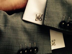 HEAD TO HEAD Ahead, Bend Cufflinks in Polished Silver