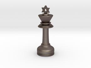 MILOSAURUS Chess MINI Star of David King in Polished Bronzed Silver Steel