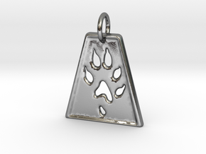 Small Ferret Paw Print - Geometric in Polished Silver