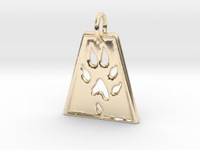 Small Ferret Paw Print - Geometric in 14K Yellow Gold