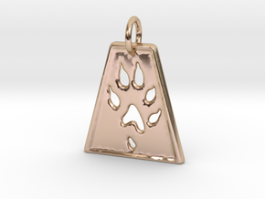 Small Ferret Paw Print - Geometric in 14k Rose Gold Plated Brass