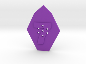7-hole 7 Sided Number 7 Button in Purple Processed Versatile Plastic