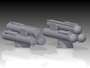 MK32 Torpedo tubes x 2 - 1/192 in Smooth Fine Detail Plastic