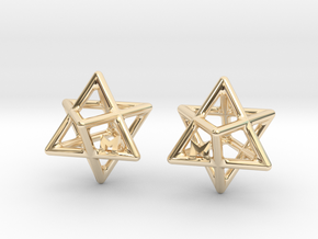 MILOSAURUS Tetrahedral 3D Star of David Earrings in 14k Gold Plated Brass