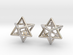 MILOSAURUS Tetrahedral 3D Star of David Earrings in Rhodium Plated Brass
