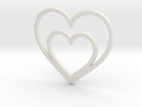 One Heart for Two Pendant - Amour Collection in White Natural Versatile Plastic
