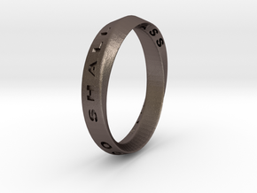 This Too Shall Pass Ring mobius ring v1 in Polished Bronzed Silver Steel
