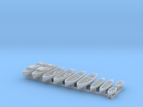 1/400 WW2 RN Boat Set 1 with Mounts in Smoothest Fine Detail Plastic