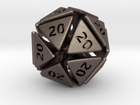 The D20 of Evil in Polished Bronzed Silver Steel