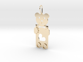 Teddy And Heart in 14k Gold Plated Brass