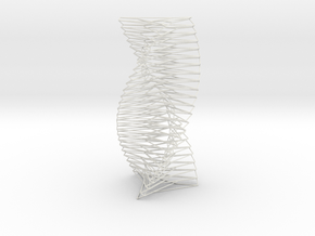 Wired Spiral Helix Tower Three Sided  in White Natural Versatile Plastic