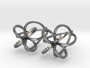 Finials - Pair of Earrings in Metal in Polished Silver