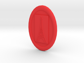 Oval Eiffel Tower Button in Red Processed Versatile Plastic