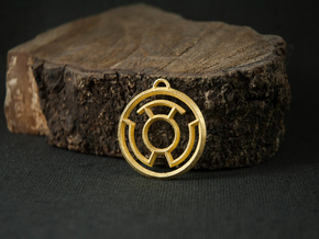Yellow Lantern Keychain in Polished Gold Steel