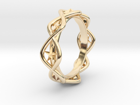 Ring Of Hoshi 14.1 mm Size 3 fixed in 14k Gold Plated Brass
