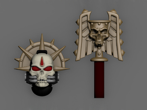 Blood Drop Skull Helm & Hammer in Smoothest Fine Detail Plastic