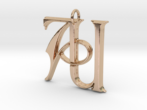Monogram Initials AU Pendant in 14k Rose Gold