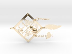 White-throated Hill Partridge in 14K Yellow Gold: Large