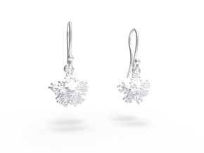 Peony Earrings in Rhodium Plated Brass