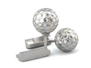 Golf Cufflinks in Polished Bronzed Silver Steel