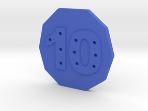 10-hole, Number 10, 10 Sided Button in Blue Processed Versatile Plastic