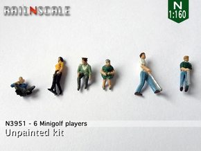 6 Minigolf players (N 1:160) in Smooth Fine Detail Plastic