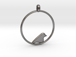 Little Bird Symbolic Pendant  in Polished Nickel Steel