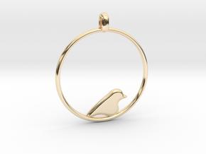 Little Bird Symbolic Pendant  in 14k Gold Plated Brass