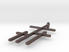crossed crosses   in Polished Bronzed Silver Steel