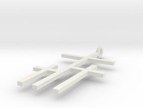 crossed crosses   in White Natural Versatile Plastic